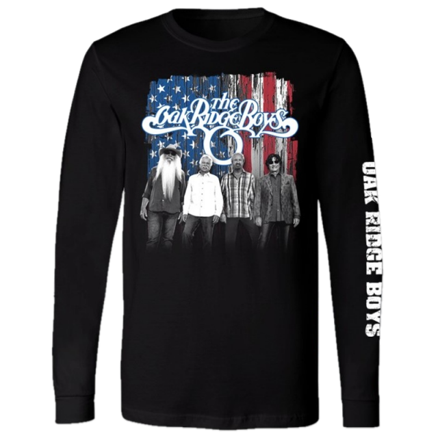 Oak Ridge Long Sleeve Black Tee- Red White and Blue Photo